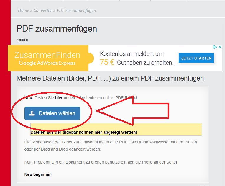 Anleitung Pdf Dateien Zusammenfügen Online Umwandelnde